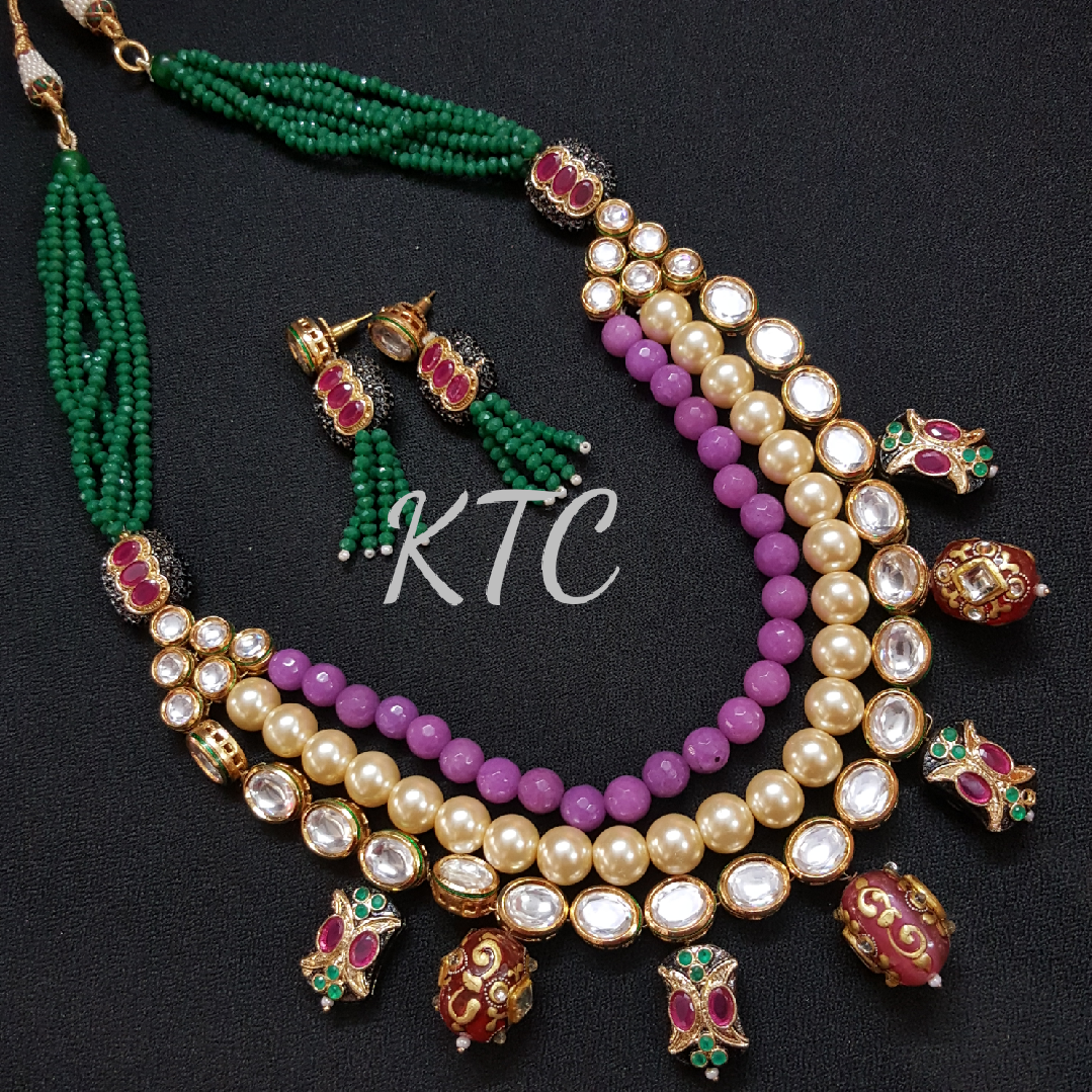 Tanjore Gold Painted Bead Necklace