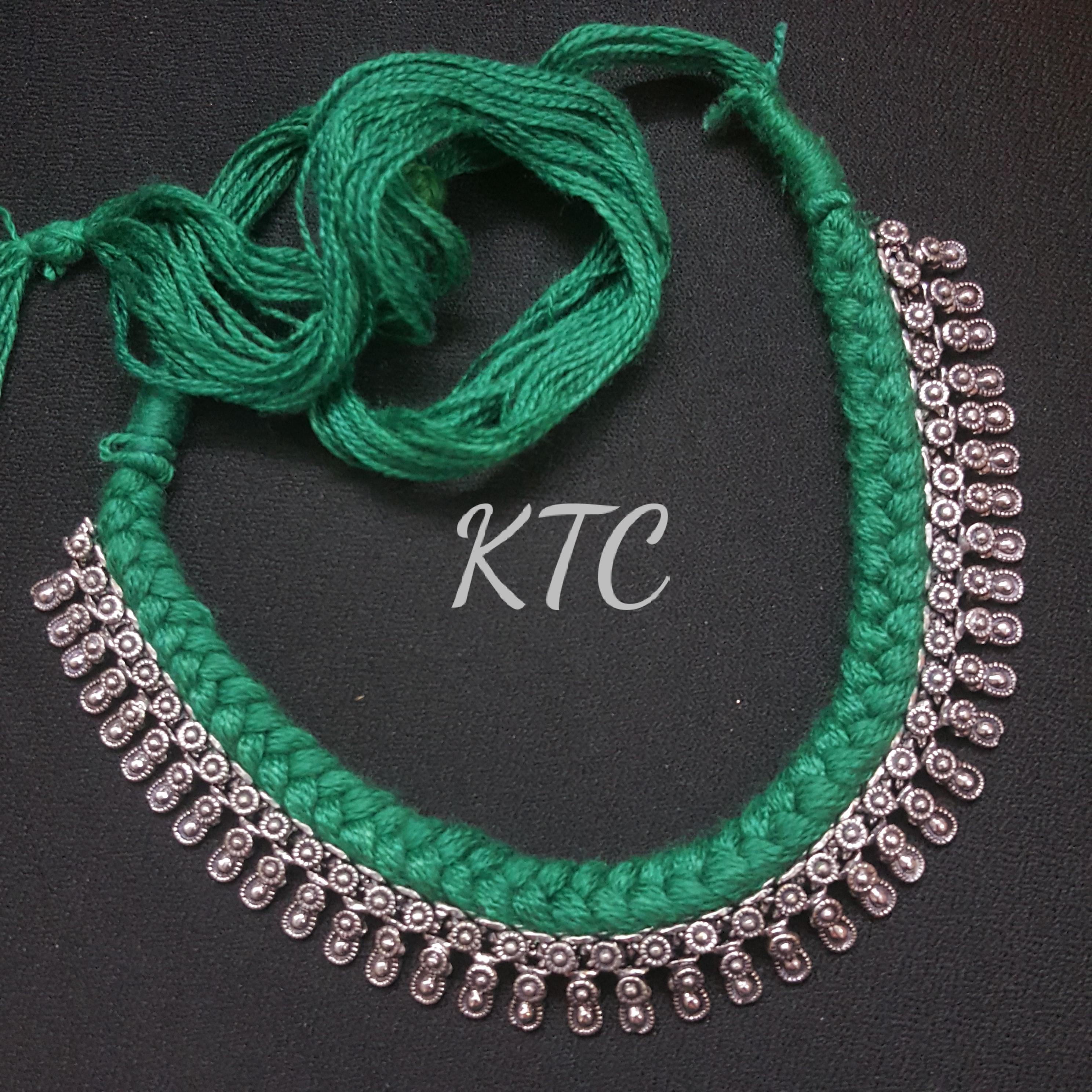 Green Thread German Silver Set