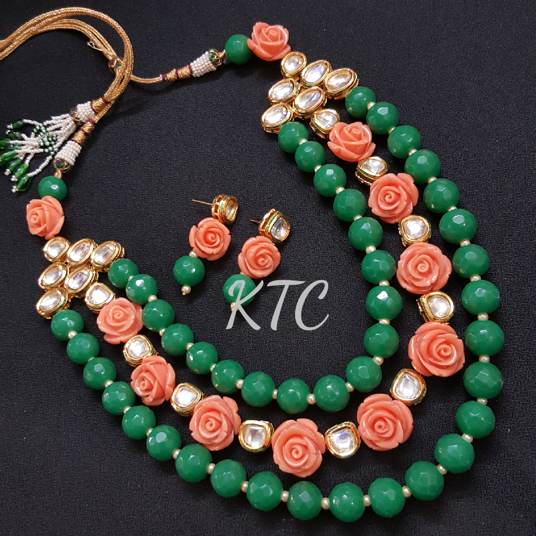 Green Kundan Rose Necklace