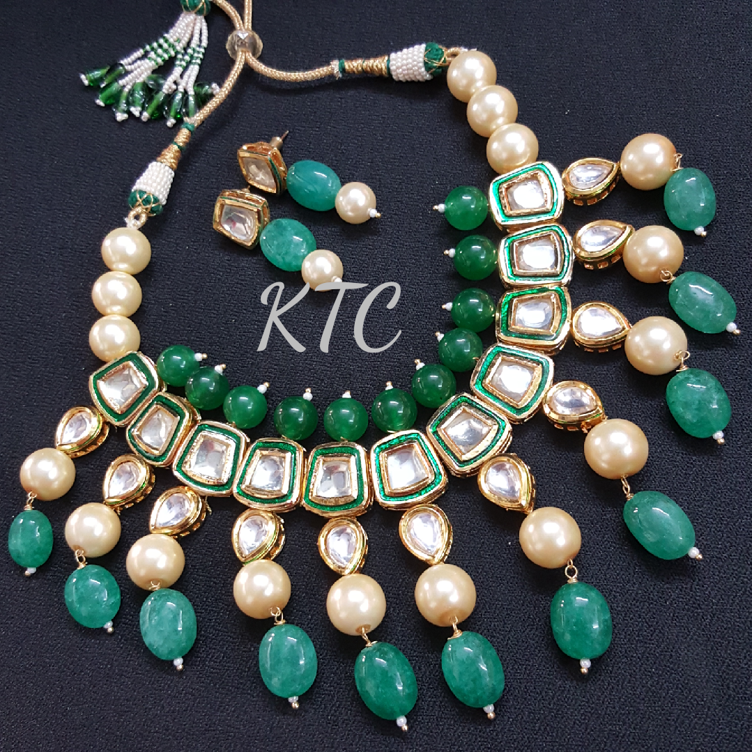 Panna Green Pearl Kundan Necklace