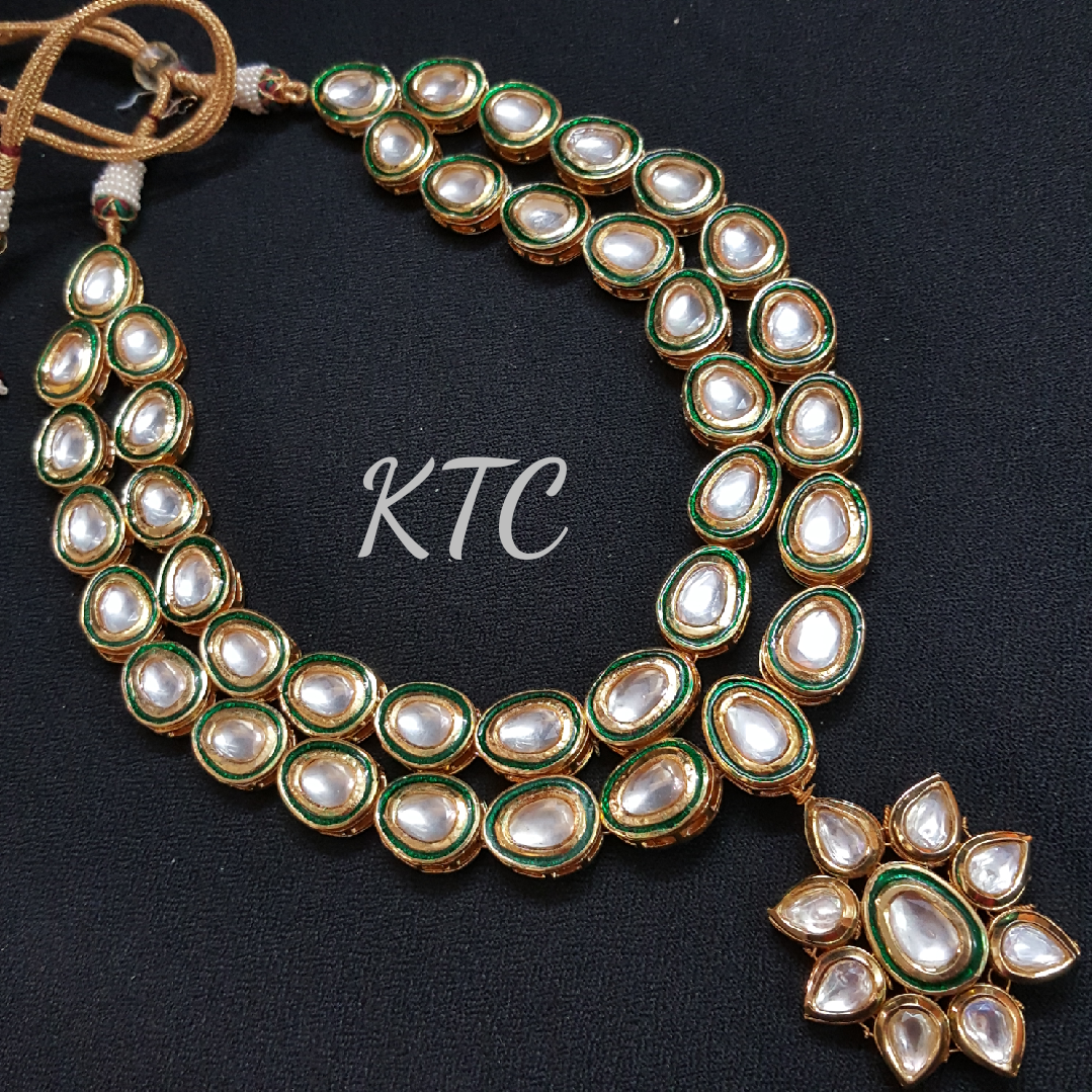 Two Layer Green Kundan Necklace