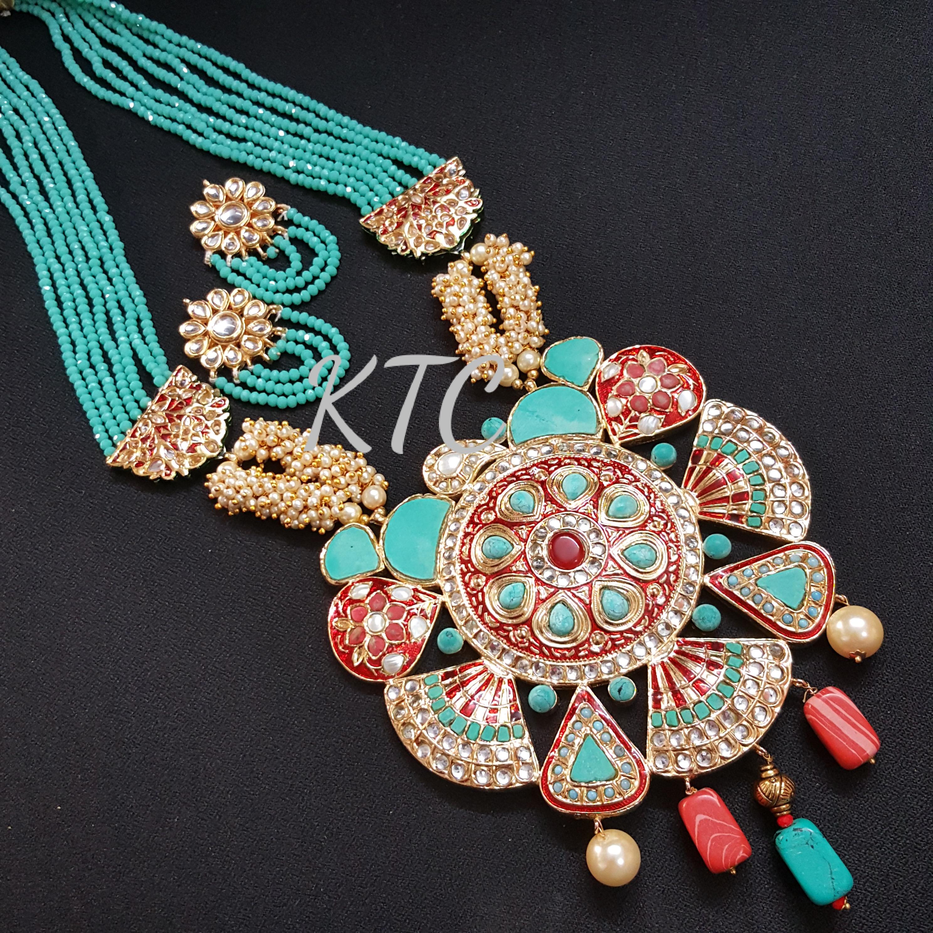 Turquoise Red Meena Jadau Pendant Set
