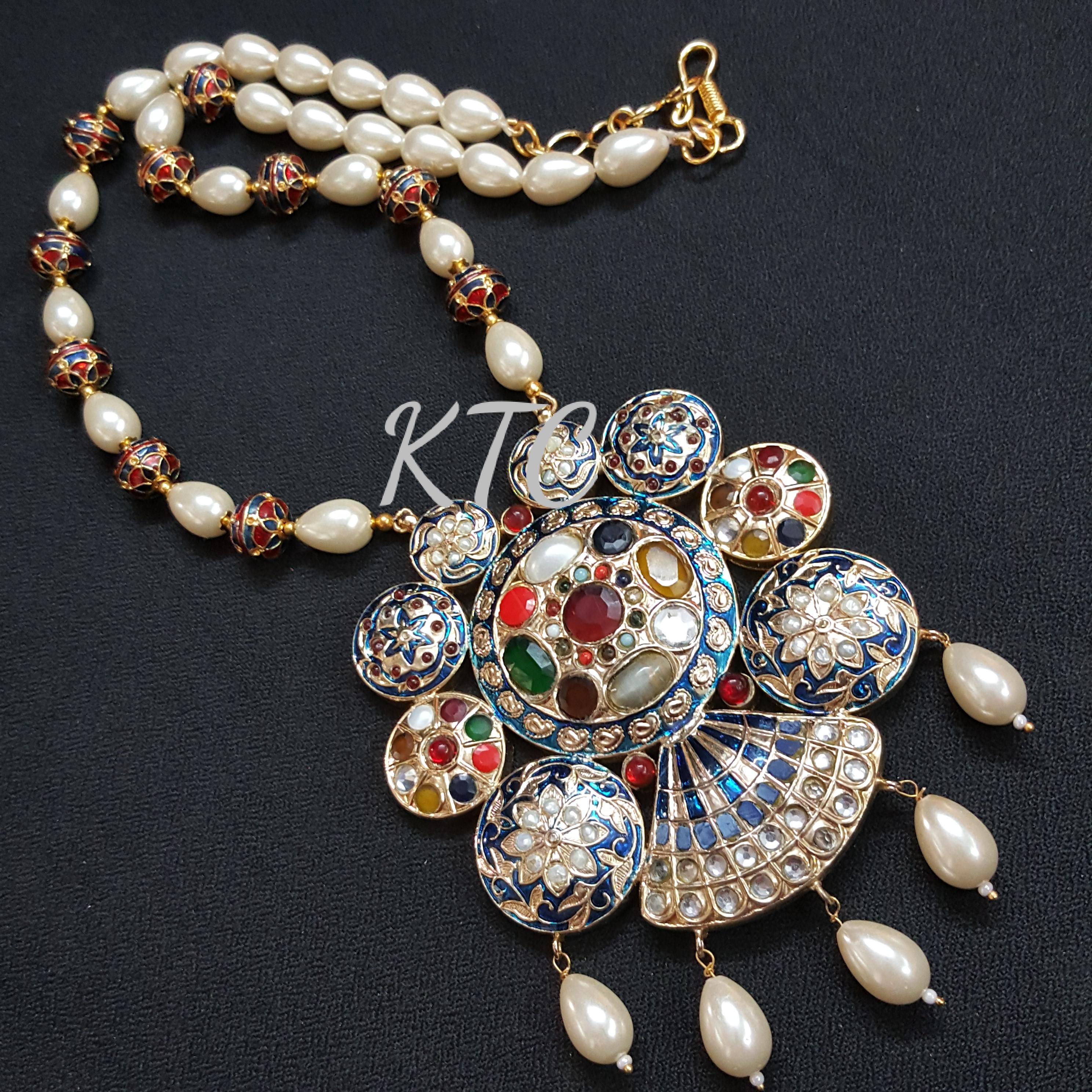 Jadau Meena Pearl Pendant Set