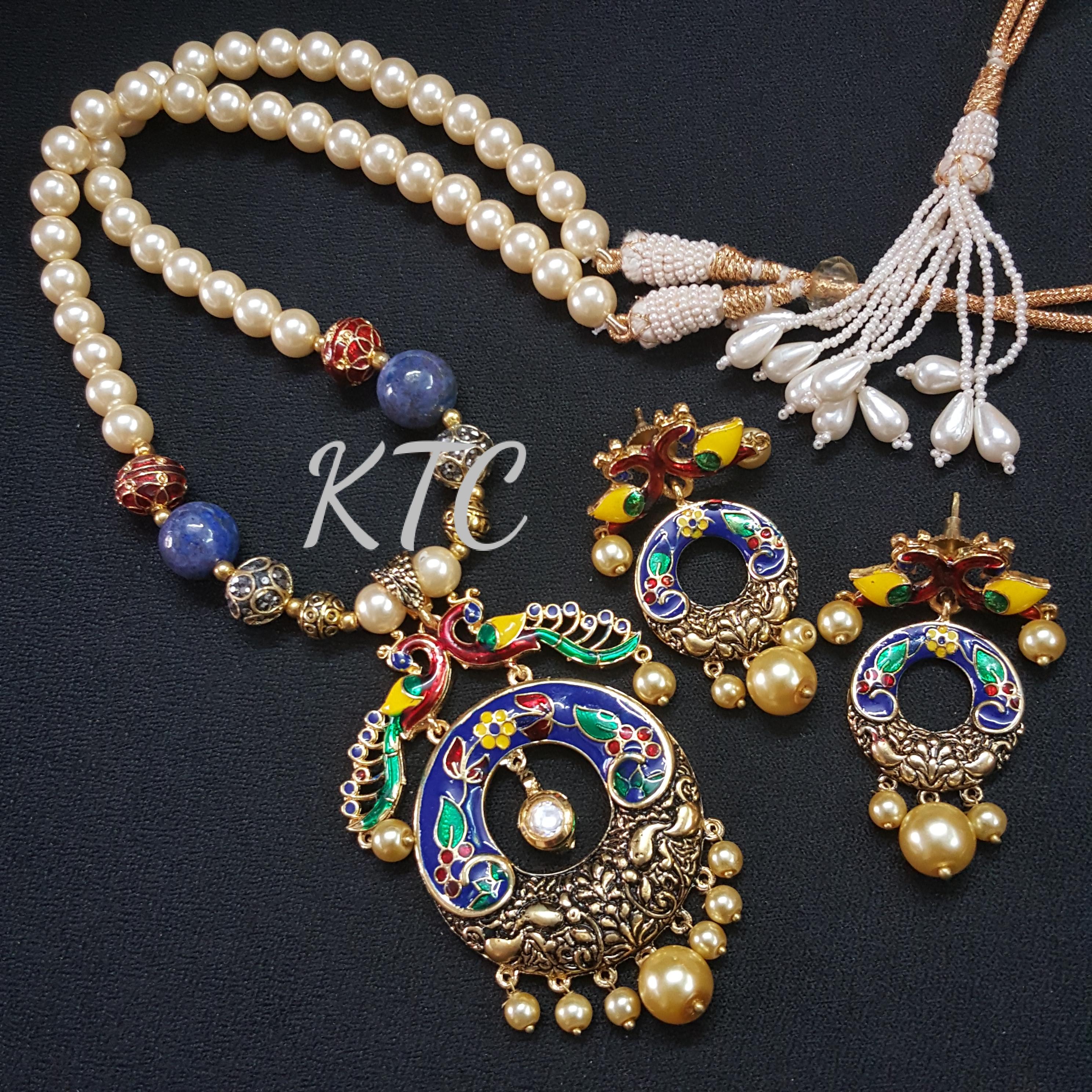 Meena Pearl Pendant Set