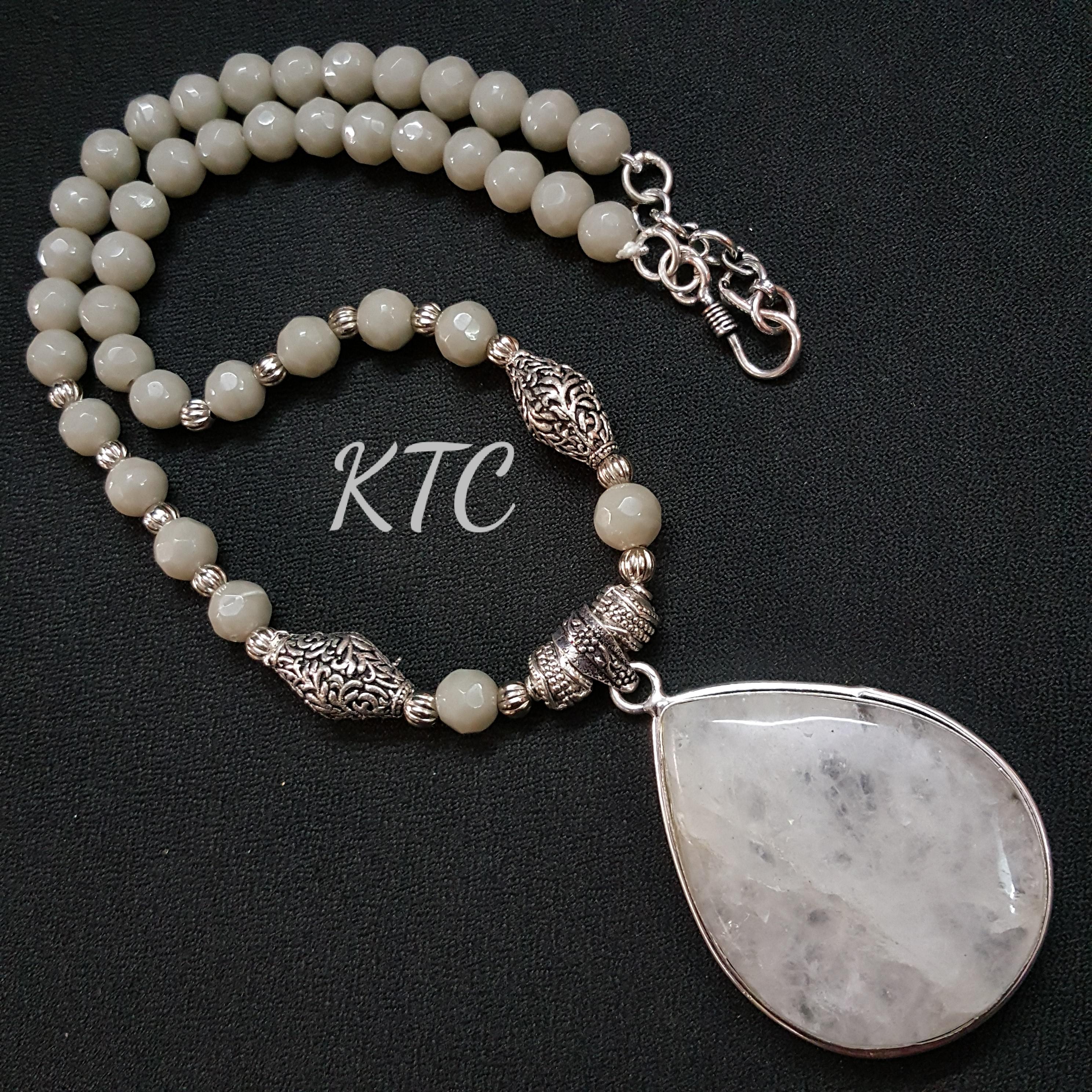Jade Semi Precious Stone Pendant Set