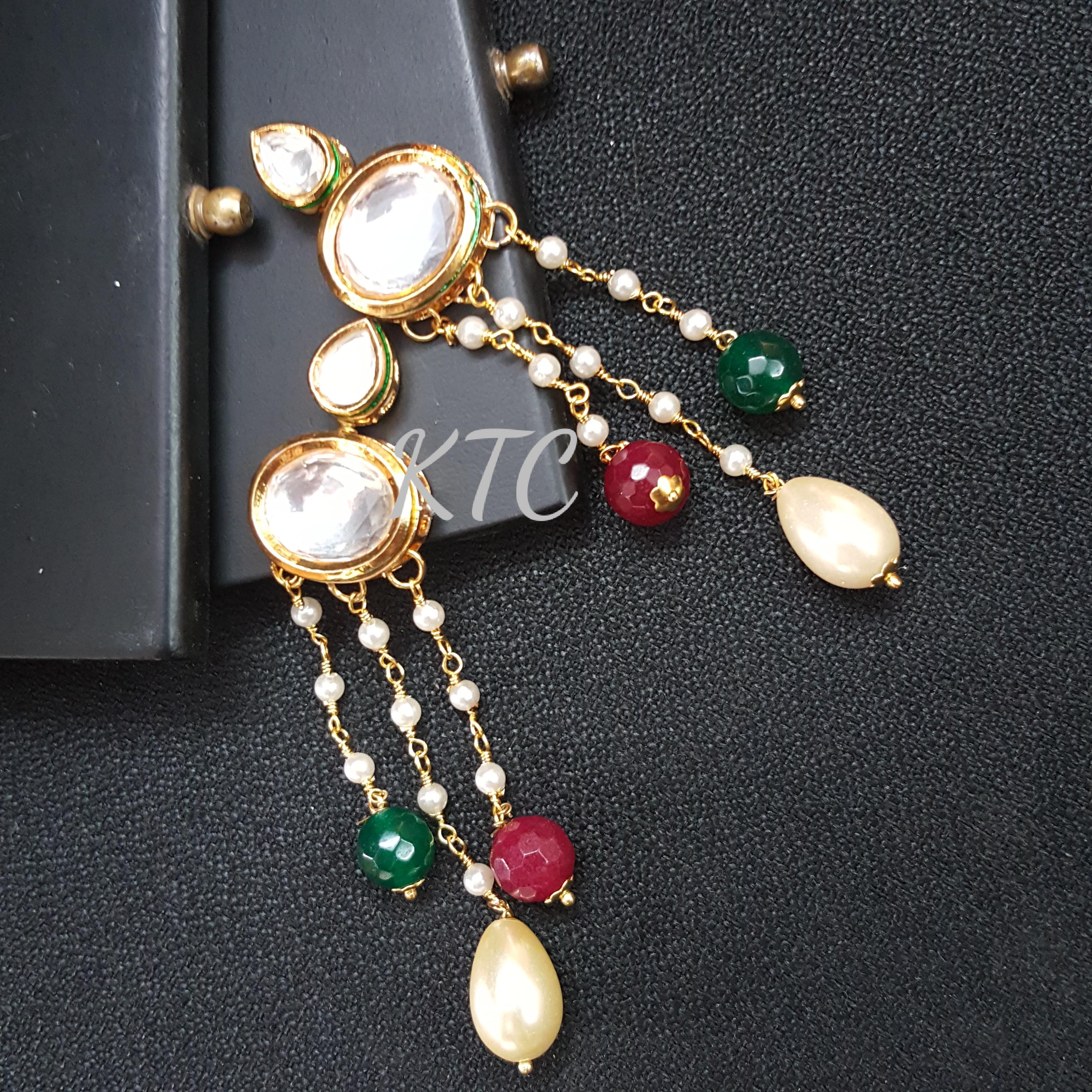 Kundan Pearl Tassel Earing