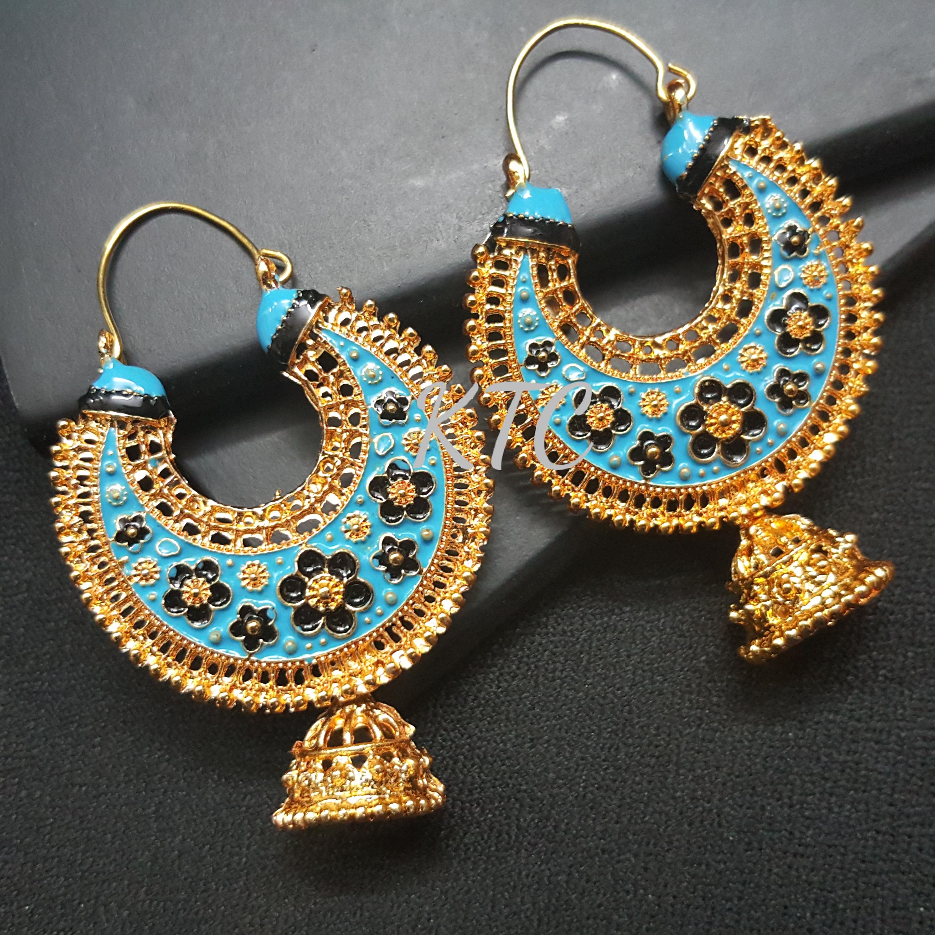 Blue Meena Chandbali
